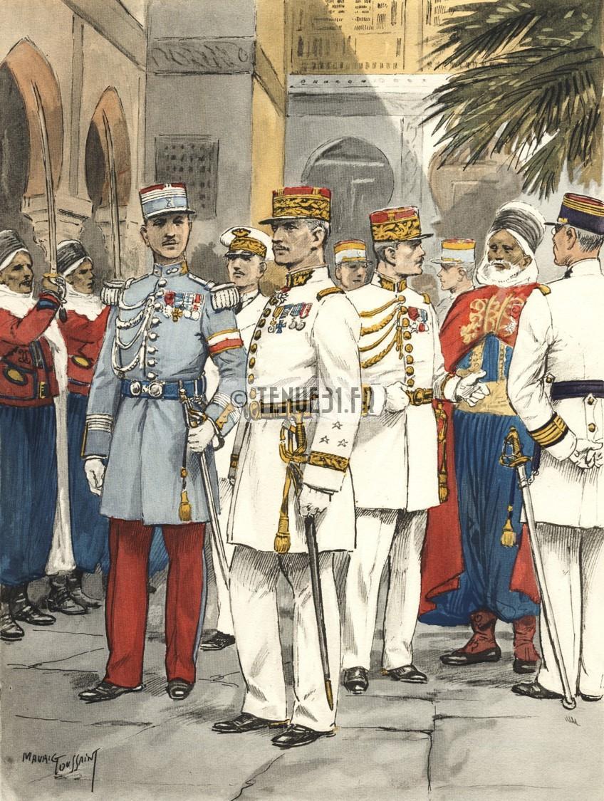 grande tenue officier uniforme sortie parade modèle 31 1931 képi armée ceinturon bottines lieutenant capitaine commandant chef bataillon colonel général tenues blanches