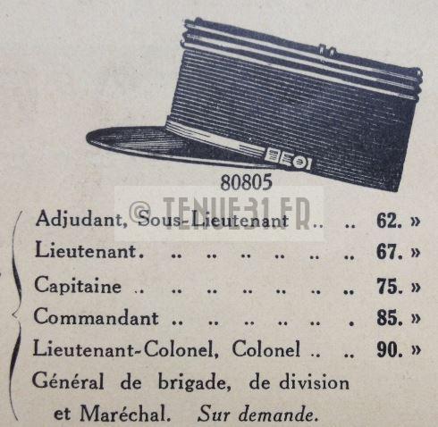 Képi dans catalogue tailleur de la tenue modèle 1931