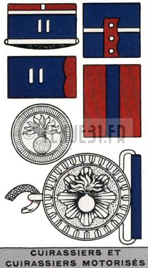 Planche descriptive de l'uniforme de cuirassiers.