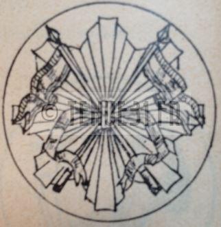 Motif intérieur de la boucle de ceinturon de la tenue modèle 1931 dragons portés