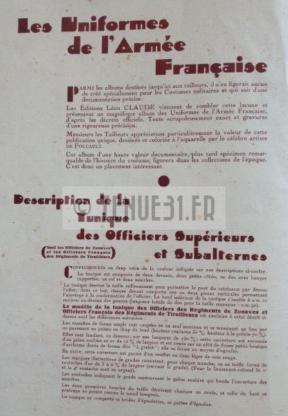 Les Uniformes de l'Armée Française. Editions Léon Claude.