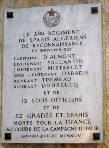 Plaque commémorative du 3ème RSAR Eglise Saint-Louis des Français - Rome