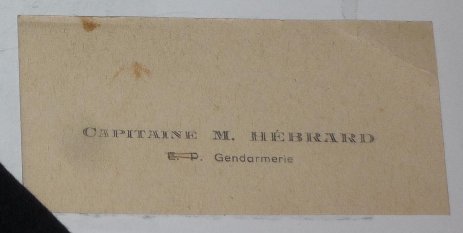 Carte de visite lieutenant de Gendarmerie Départementale Hébrard