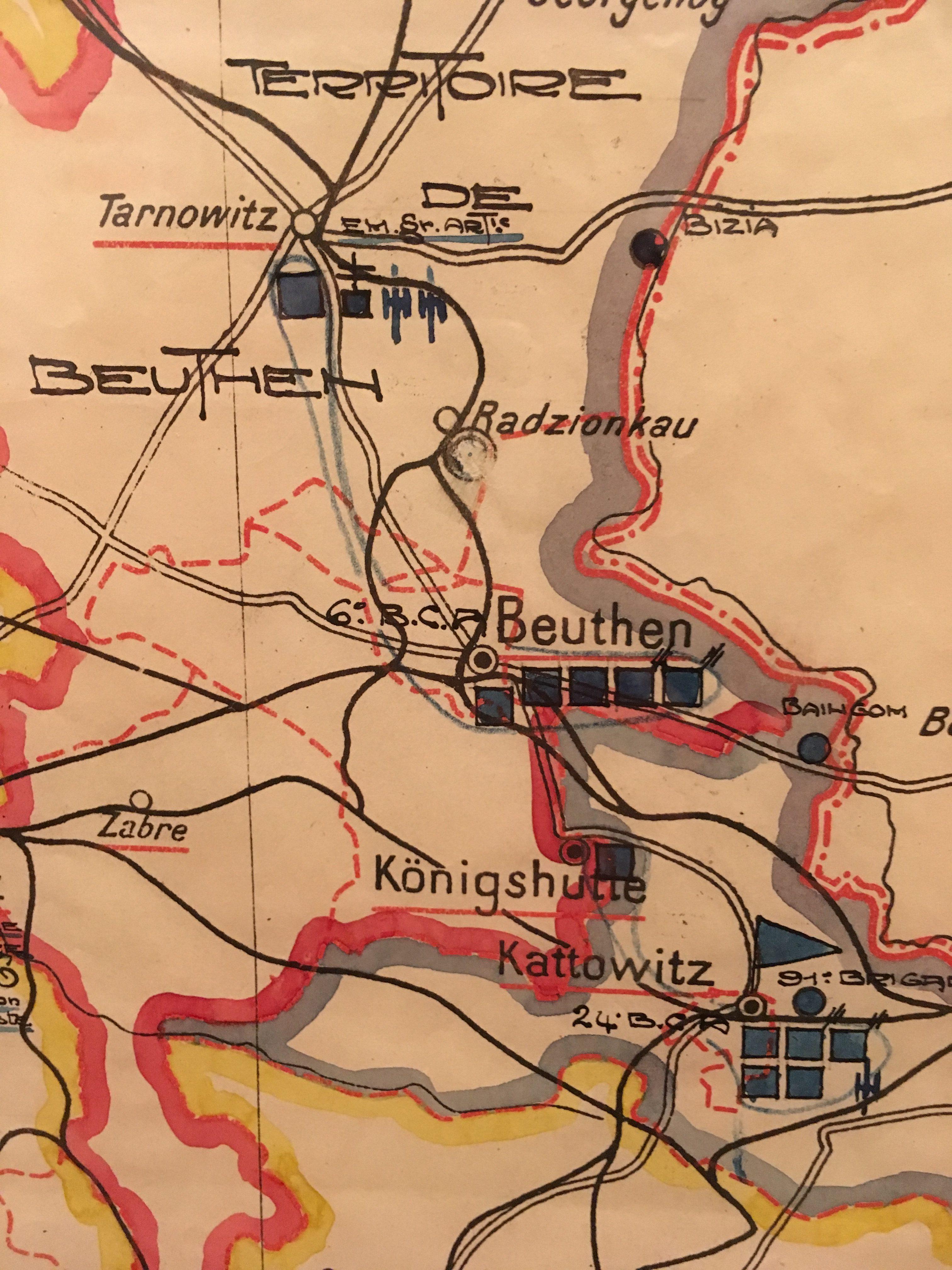 Carte de Beuthen (Haute-Silésie). Musée de l'Armée.