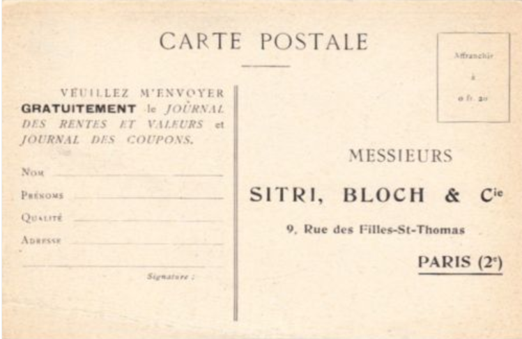 Sitri Bloch et Cie CP