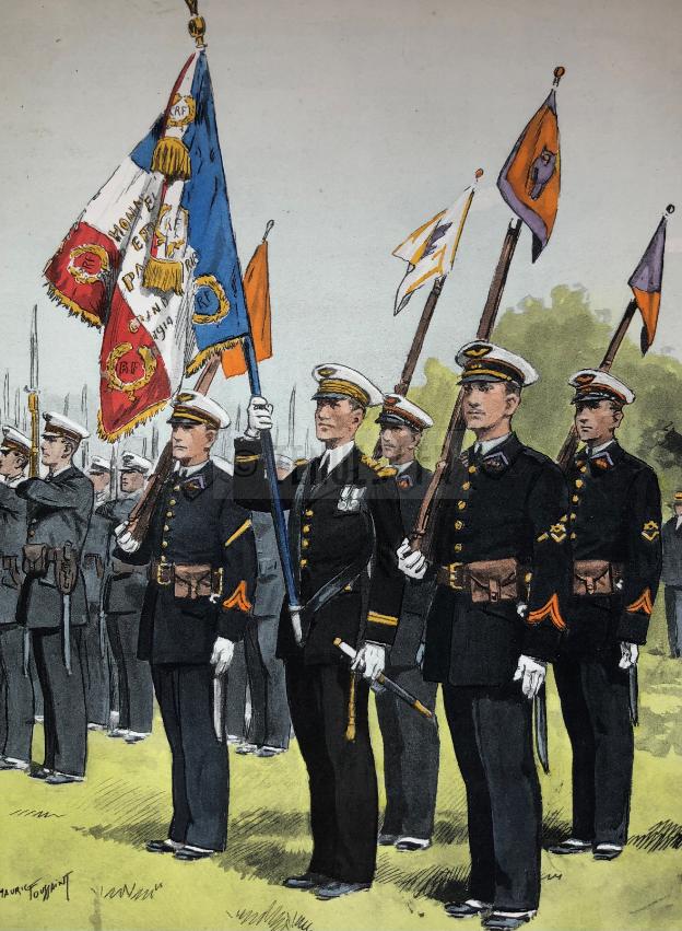 Aéronautique militaire - drapeau de base aérienne d'aviation, caporaux-chefs, lieutenant, caporaux